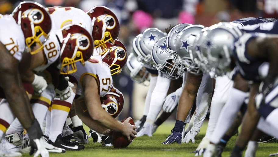 LANDOVER, MD - OCTOBER 21: Washington Redskins face off at the line of scrimmage against the Dallas Cowboys during the game at FedExField on October 21, 2018 in Landover, Maryland. The Redskins won 20-17. (Photo by Joe Robbins/Getty Images)
