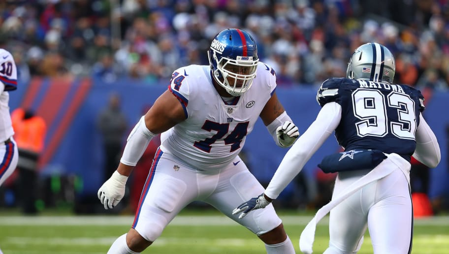 EAST RUTHERFORD, NJ - DECEMBER 10:  Ereck Flowers #74 of the New York Giants in action against  Benson Mayowa #93 of the Dallas Cowboys during their game at MetLife Stadium on December 10, 2017 in East Rutherford, New Jersey.  (Photo by Al Bello/Getty Images)
