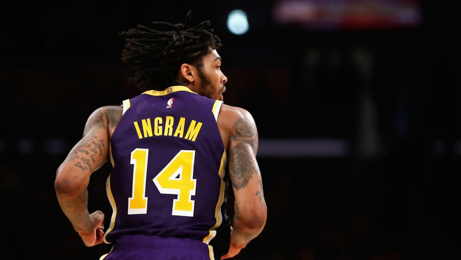 LOS ANGELES, CA - OCTOBER 31:  Brandon Ingram #14 of the Los Angeles Lakers looks on during the second half of a game at Staples Center on October 31, 2018 in Los Angeles, California.  NOTE TO USER: User expressly acknowledges and agrees that, by downloading and or using this photograph, User is consenting to the terms and conditions of the Getty Images License Agreement.  (Photo by Sean M. Haffey/Getty Images)