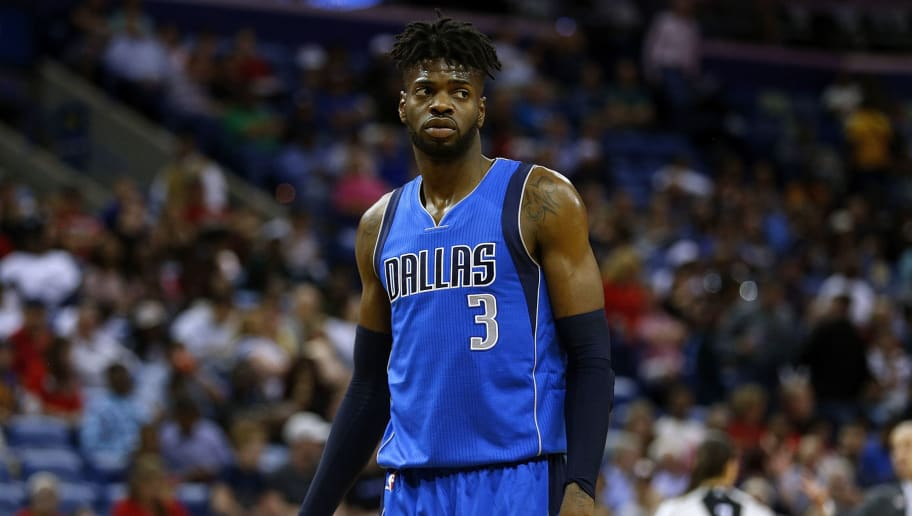 NEW ORLEANS, LA - MARCH 29:  Nerlens Noel #3 of the Dallas Mavericks reacts during a game against the New Orleans Pelicans at the Smoothie King Center on March 29, 2017 in New Orleans, Louisiana. NOTE TO USER: User expressly acknowledges and agrees that, by downloading and or using this photograph, User is consenting to the terms and conditions of the Getty Images License Agreement.  (Photo by Jonathan Bachman/Getty Images)