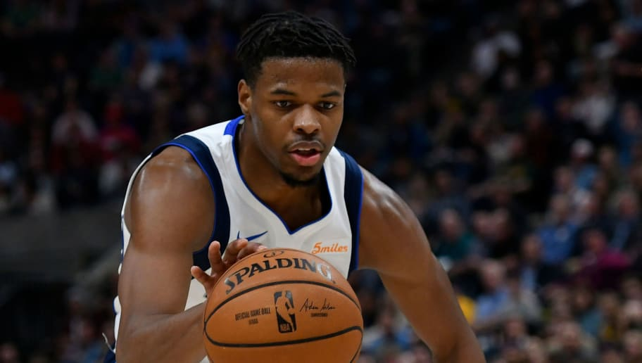 SALT LAKE CITY, UT - NOVEMBER 07: Dennis Smith Jr. #1 of the Dallas Mavericks dribbles the ball against the Utah Jazz in the first half of a NBA game at Vivint Smart Home Arena on November 7, 2018 in Salt Lake City, Utah. NOTE TO USER: User expressly acknowledges and agrees that, by downloading and or using this photograph, User is consenting to the terms and conditions of the Getty Images License Agreement. (Photo by Gene Sweeney Jr./Getty Images)