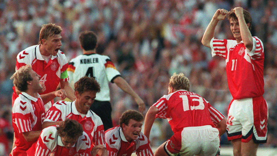 Danish players celebrate their victory after defea