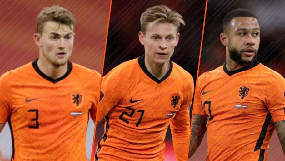 Mathijs de Ligt, Frenkie de Jong et Memphis Depay, étendards des Pays-Bas.