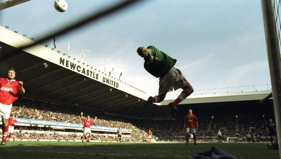 13 Apr 1998:  Dave Watson, goalkeeper to Barnsley shows his diving skills during the match between Newcastle v Barnsley in the FA Premiership played at St. James Park, Newcastle, England. Newcastle won the match 2-1. \ Mandatory Credit: Stu Forster /Allsport