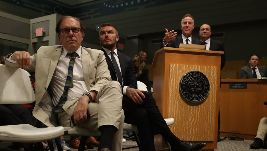 MIAMI, FL - JULY 12:  Architect Bernardo Fort-Brescia, David Beckham, Jorge Mas and Richard Perez (L-R) attend a pubic hearing at the Miami City Hall about building a Major League soccer stadium on a public golf course on July 12, 2018 in Miami, Florida. Mr. Beckham and his partners attended the meeting at city hall in their efforts to build a Major League Soccer stadium in the City of Miami for their professional soccer team.  (Photo by Joe Raedle/Getty Images)