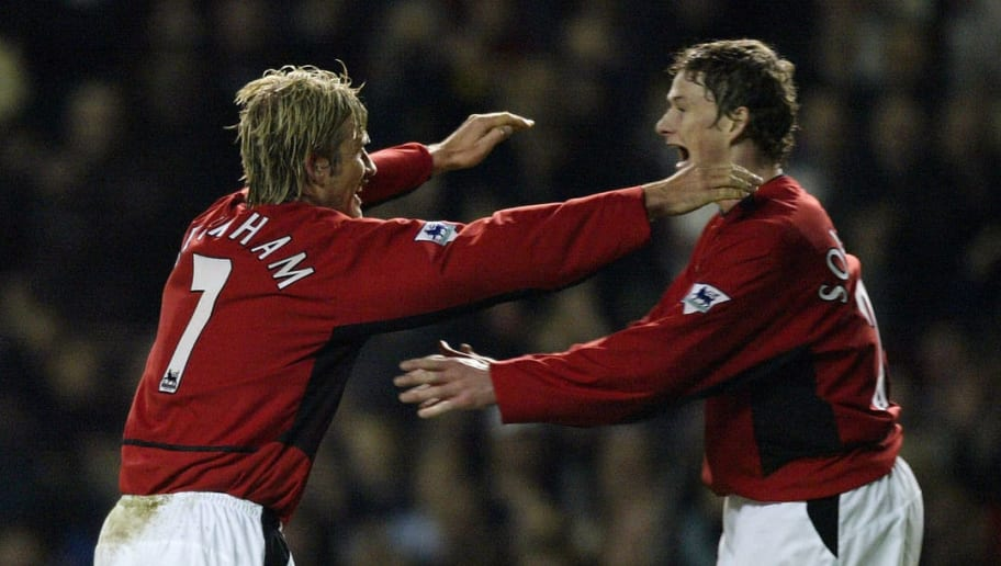David Beckham of Man United celebrates scoring