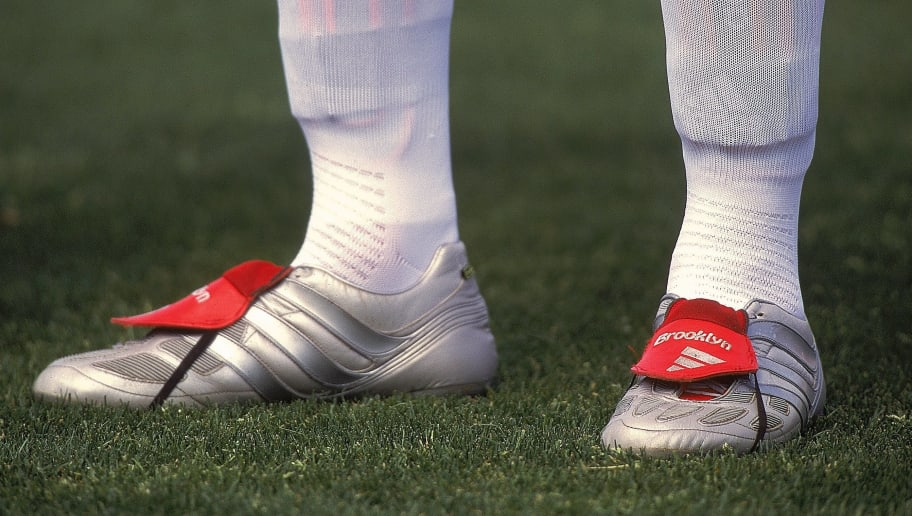 12 Jun 2000:  David Beckham's boots of England during the European Championships 2000 Group A match against Portugal at the Philips Stadium, Eindhoven, Holland. Portugal won 3-2. \ Mandatory Credit: Ben Radford /Allsport
