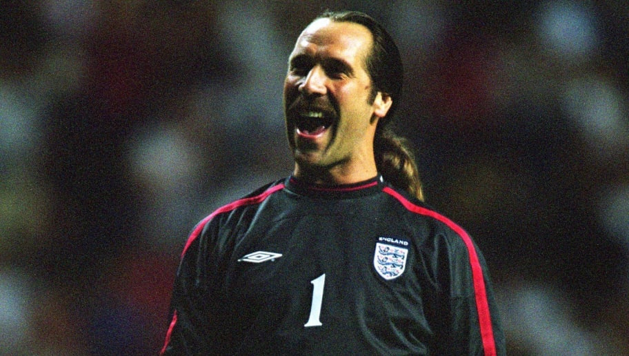 5 Sep 2001:  David Seaman of England celebrates during the FIFA World Cup 2002 Group Nine Qualifying match against Albania played at St James Park, in Newcastle, England. England won the match 2-0. \ Mandatory Credit: Michael Steele /Allsport
