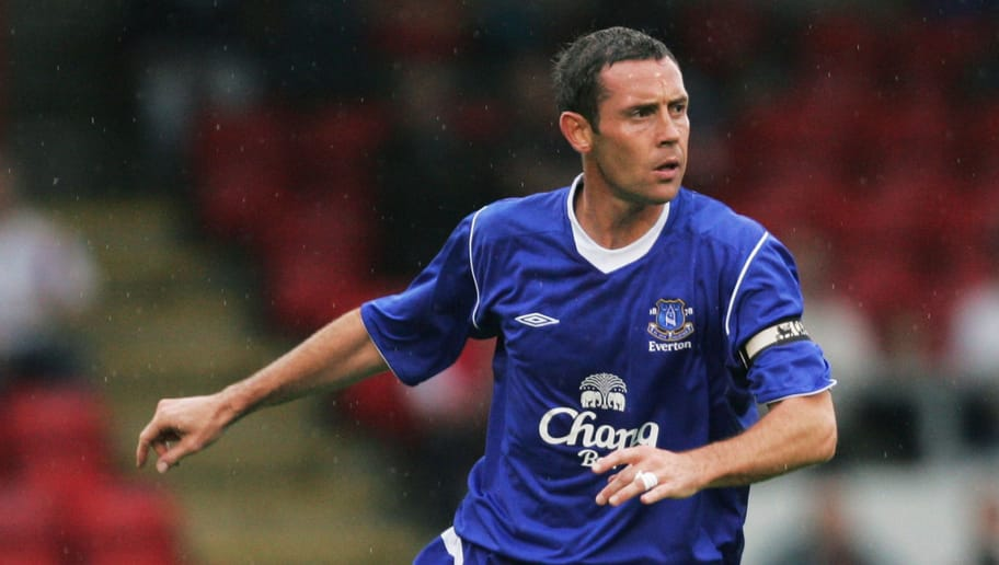 CREWE, ENGLAND - JULY 20:  David Weir of Everton in action during the pre-season friendly match between Crewe Alexandra and Everton at Gresty Road on July 20, 2004 in Crewe, England. (Photo by Alex Livesey/Getty Images)