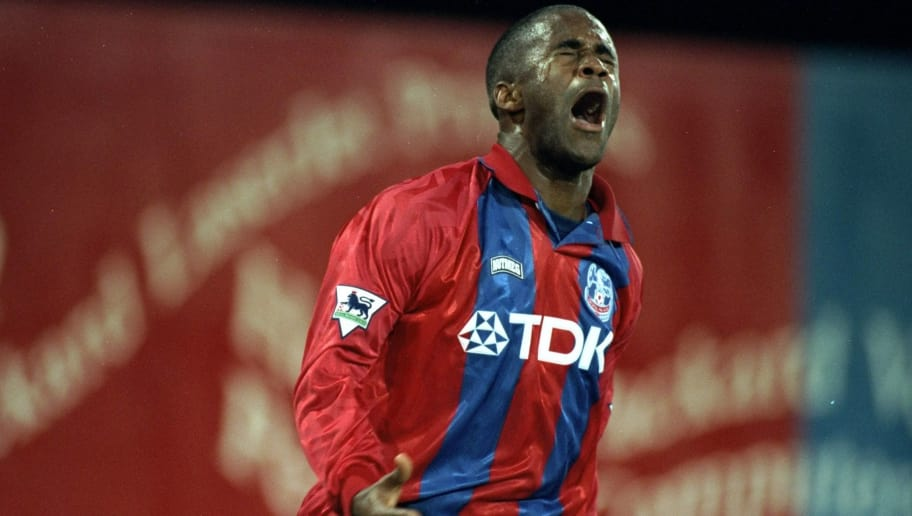 1994:  Dean Gordon of Crystal Palace celebrates during the Coca Cola Cup match against Lincoln City at Selhurst Park in London. Crystal Palace won the match 3-0. \ Mandatory Credit: Clive  Mason/Allsport