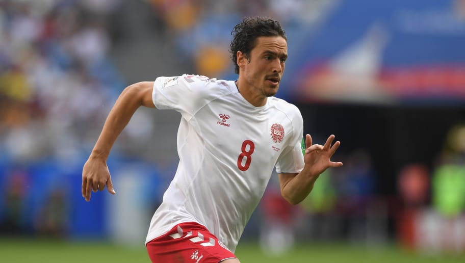 SAMARA, RUSSIA - JUNE 21:  Denmark player Thomas Delaney in action during the 2018 FIFA World Cup Russia group C match between Denmark and Australia at Samara Arena on June 21, 2018 in Samara, Russia.  (Photo by Stu Forster/Getty Images)