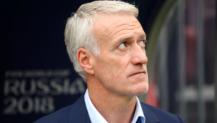 MOSCOW, RUSSIA - JUNE 26:    Didier Deschamps head coach / manager of France looks on prior to the 2018 FIFA World Cup Russia group C match between Denmark and France at Luzhniki Stadium on June 26, 2018 in Moscow, Russia. (Photo by Matthew Ashton - AMA/Getty Images)