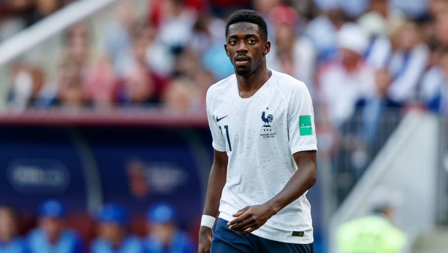 MOSCOW, RUSSIA - JUNE 26: Ousmane Dembele of France looks on during the 2018 FIFA World Cup Russia group C match between Denmark and France at Luzhniki Stadium on June 26, 2018 in Moscow, Russia. (Photo by TF-Images/Getty Images)