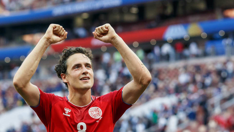 MOSCOW, RUSSIA - JUNE 26: Thomas Delaney of Denmark celebrates after winning the 2018 FIFA World Cup Russia group C match between Denmark and France at Luzhniki Stadium on June 26, 2018 in Moscow, Russia. (Photo by TF-Images/Getty Images)