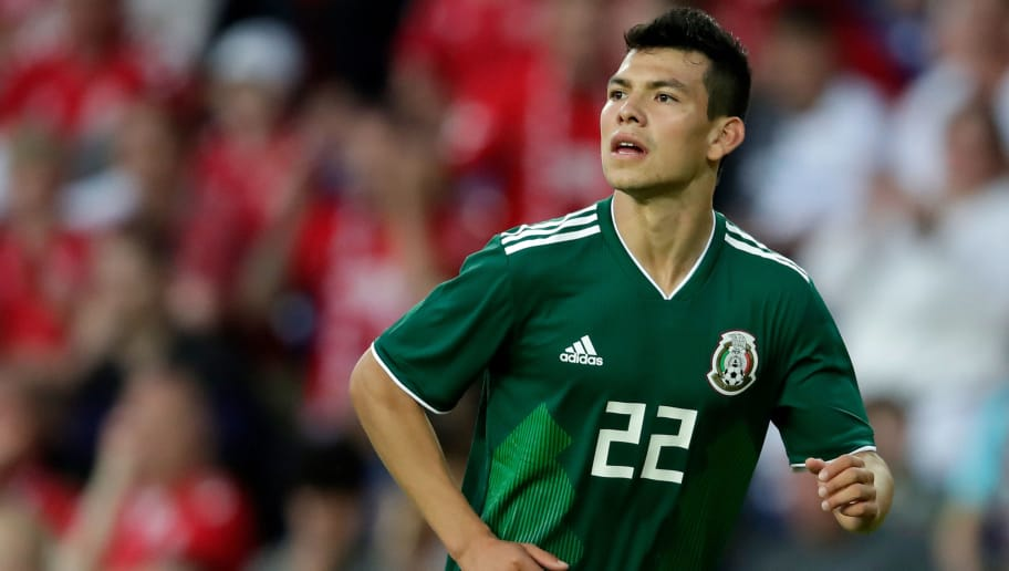 COPENHAGEN, DENMARK - JUNE 9: Hirving Lozano of Mexico  during the  International Friendly match between Denmark  v Mexico  at the Brondby Stadium on June 9, 2018 in Copenhagen Denmark (Photo by Laurens Lindhout/Soccrates/Getty Images)