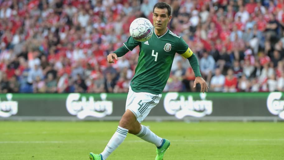 BRONDBY, DENMARK - JUNE 09: Rafael Marquez of Mexico controls the ball during International Friendly match between Denmark v Mexico at Brondby Stadion on June 9, 2018 in Brondby, Denmark.  (Photo by Pier Marco Tacca/Getty Images)