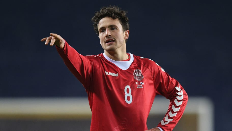 BRONDBY, DENMARK - MARCH 22:  Thomas Delaney of Denmark in action during the International Friendly match between Denmark and Panama at Brondby Stadion on March 22, 2018 in Brondby, Denmark.  (Photo by Michael Regan/Getty Images)