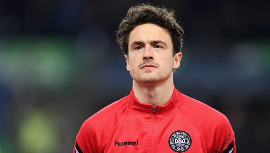 BRONDBY, DENMARK - MARCH 22:  Thomas Delaney of Denmark looks on before the International Friendly match between Denmark and Panama at Brondby Stadion on March 22, 2018 in Brondby, Denmark.  (Photo by Michael Regan/Getty Images)