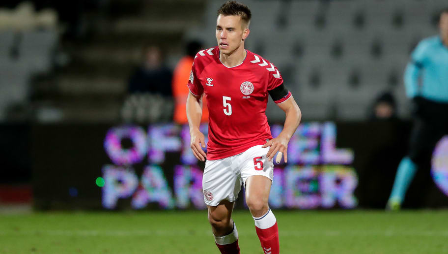 AARHUS,  - NOVEMBER 19: Jonas Knudsen of Denmark  during the  UEFA Nations league match between Denmark  v Republic of Ireland  at the Ceres Park on November 19, 2018 in Aarhus  (Photo by Jeroen Meuwsen/Soccrates/Getty Images)