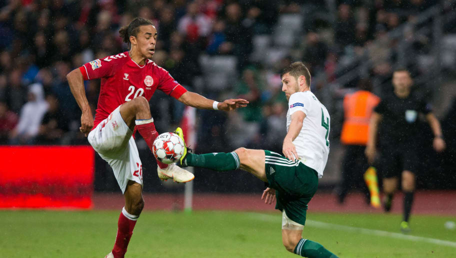AARHUS, DENMARK - SEPTEMBER 09: Ben Davies of Wales vies for possession with Yussuf Poulsen of Denmark during the UEFA Nations League B group four match between Denmark and Wales at  on September 9, 2018 in Aarhus, Denmark. (Photo by Craig Mercer/MB Media/Getty Images)