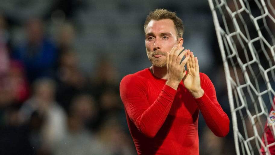 AARHUS, DENMARK - SEPTEMBER 09: Christian Eriksen of Denmark applauds the fans at the final whistle during the UEFA Nations League B group four match between Denmark and Wales at  on September 9, 2018 in Aarhus, Denmark. (Photo by Craig Mercer/MB Media/Getty Images)