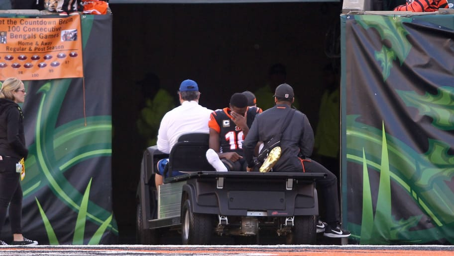CINCINNATI, OH - DECEMBER 2:  A.J. Green #18 of the Cincinnati Bengals is carted off of the field after injuring his foot during the second quarter of the game against the Cincinnati Bengals at Paul Brown Stadium on December 2, 2018 in Cincinnati, Ohio. (Photo by John Grieshop/Getty Images)