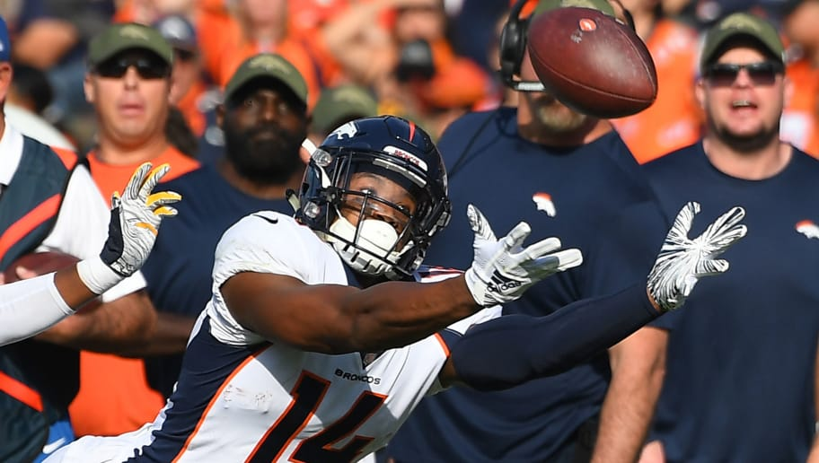 CARSON, CA - NOVEMBER 18: Courtland Sutton #14 of the Denver Broncos can't reach a pass during the game against the Denver Broncos StubHub Center on November 18, 2018 in Carson, California. (Photo by Jayne Kamin-Oncea/Getty Images)