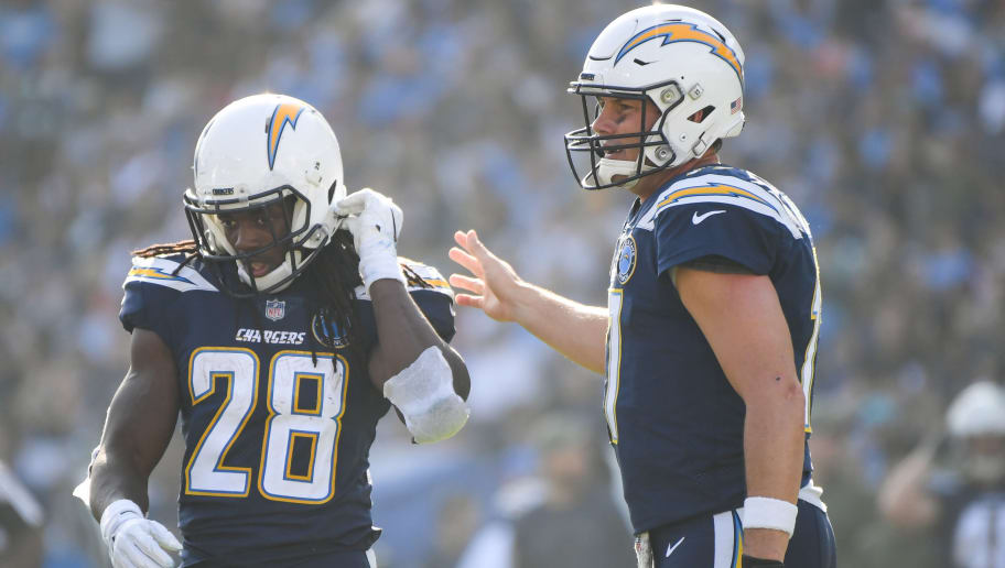 CARSON, CA - NOVEMBER 18: Running back Melvin Gordon #28 and quarterback Philip Rivers #17 of the Los Angeles Chargers react after a missed play in the first quarter against the Denver Broncos at StubHub Center on November 18, 2018 in Carson, California. (Photo by Harry How/Getty Images)