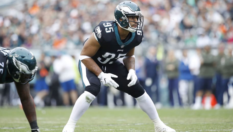 PHILADELPHIA, PA - NOVEMBER 05: Mychal Kendricks #95 of the Philadelphia Eagles in action during a game against the Denver Broncos at Lincoln Financial Field on November 5, 2017 in Philadelphia, Pennsylvania. The Eagles defeated the Broncos 51-23. (Photo by Joe Robbins/Getty Images)