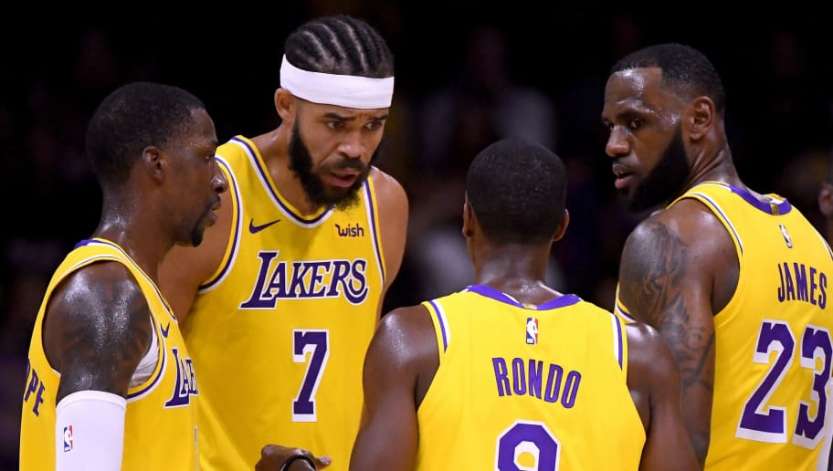 SAN DIEGO, CA - SEPTEMBER 30:  LeBron James #23, Rajon Rondo #9, JaVale McGee #7 and Kentavious Caldwell-Pope #1 of the Los Angeles Lakers talk after a stop in play during a preseason game against the Denver Nuggets at Valley View Casino Center on September 30, 2018 in San Diego, California.  (Photo by Harry How/Getty Images)