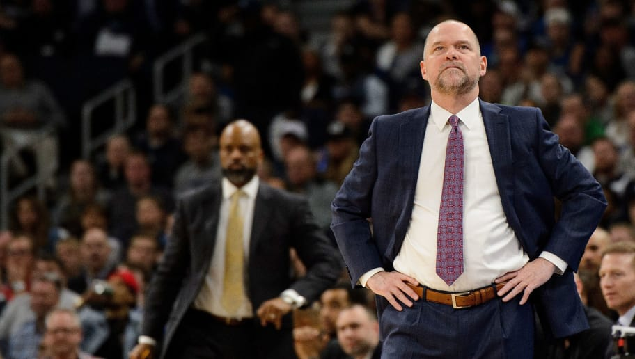 MINNEAPOLIS, MN - APRIL 11: Head coach Michael Malone of the Denver Nuggets looks on during the game against the Denver Nuggets on April 11, 2018 at the Target Center in Minneapolis, Minnesota. The Timberwolves defeated the Nuggets 112-106. NOTE TO USER: User expressly acknowledges and agrees that, by downloading and or using this Photograph, user is consenting to the terms and conditions of the Getty Images License Agreement. (Photo by Hannah Foslien/Getty Images)