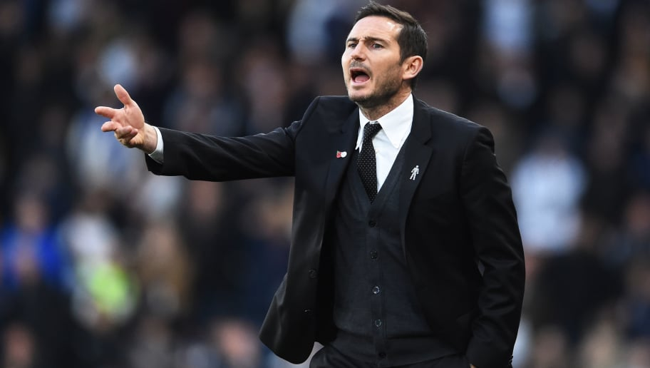DERBY, ENGLAND - NOVEMBER 03: Frank Lampard manager of Derby County gestures during the Sky Bet Championship match between Derby County and Birmingham City at Pride Park Stadium on November 3, 2018 in Derby, England. (Photo by Nathan Stirk/Getty Images)
