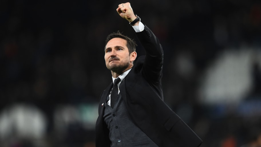 DERBY, ENGLAND - NOVEMBER 03: Frank Lampard manager of Derby County celebrates after the Sky Bet Championship match between Derby County and Birmingham City at Pride Park Stadium on November 3, 2018 in Derby, England. (Photo by Nathan Stirk/Getty Images)