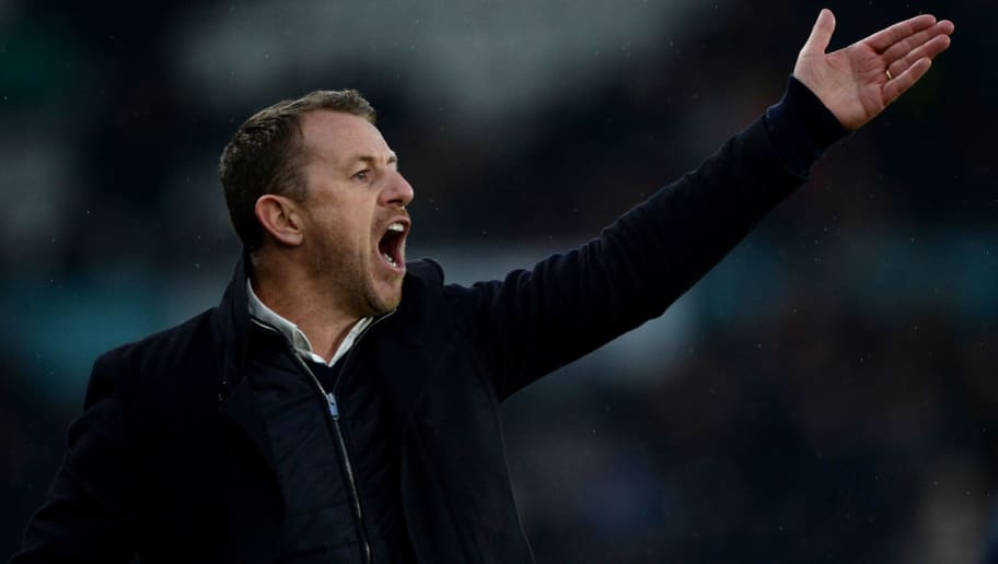 DERBY, ENGLAND - FEBRUARY 03: Gary Rowett manager of Derby County gives his players instructions during the Sky Bet Championship match between Derby County and Brentford at iPro Stadium on February 3, 2018 in Derby, England. (Photo by Nathan Stirk/Getty Images)