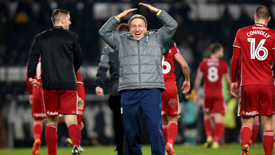 DERBY, ENGLAND - FEBRUARY 14: Neil Warnock manager of Cardiff City celebrates towards the Cardiff fans after the Sky Bet Championship match between Derby County and Cardiff City at the iPro Stadium on February 14, 2017 in Derby, England (Photo by Nathan Stirk/Getty Images).
