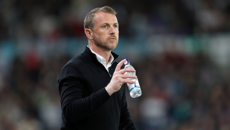 DERBY, ENGLAND - MAY 11:    Gary Rowett, Derby manager, gets a drink  during the Sky Bet Championship Play Off Semi FinalFirst Leg between Derby County and Fulham on May 11, 2018 at Pride Park in Derby,England. (Photo by Andy Clarke/MB Media/Getty Images)