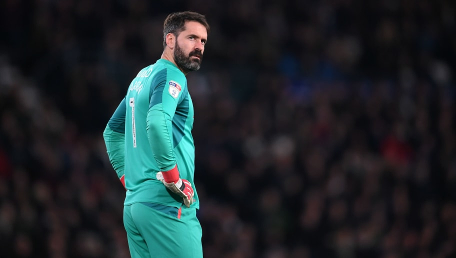 DERBY, ENGLAND - FEBRUARY 21: Scott Carson of Derby County looks on during the Sky Bet Championship match between Derby County and Leeds United at iPro Stadium on February 21, 2018 in Derby, England.  (Photo by Laurence Griffiths/Getty Images)