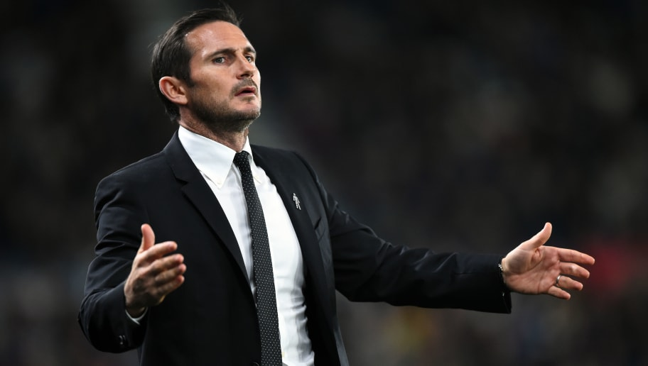 DERBY, ENGLAND - OCTOBER 03: Frank Lampard,  manager of Derby County looks on during the Sky Bet Championship match between Derby County and Norwich City at Pride Park Stadium on October 3, 2018 in Derby, England. (Photo by Nathan Stirk/Getty Images)