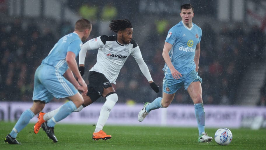 DERBY, ENGLAND - MARCH 30: Kasey Palmer of Derby County in action during the Sky Bet Championship match between Derby County and Sunderland at iPro Stadium on March 30, 2018 in Derby, England. (Photo by Nathan Stirk/Getty Images)
