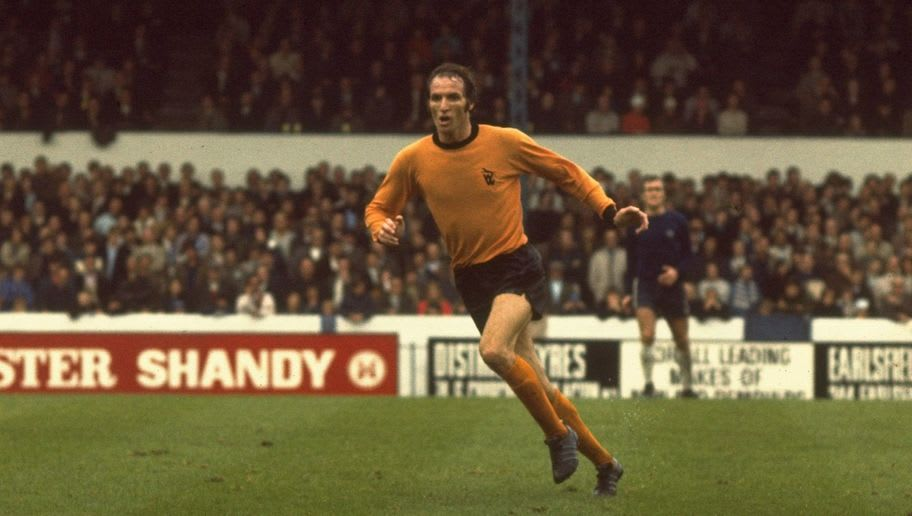 Derek Dougan of Wolverhampton Wanderers running up the pitch during a league match.