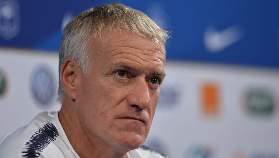 PARIS, FRANCE - OCTOBER 15:  France head coach Didier Deschamps answers journalists during a press conference ahead the UEFA Nations League match between France and Germany at Stade de France on October 15, 2018 in Paris, France.  (Photo by Aurelien Meunier/Getty Images)
