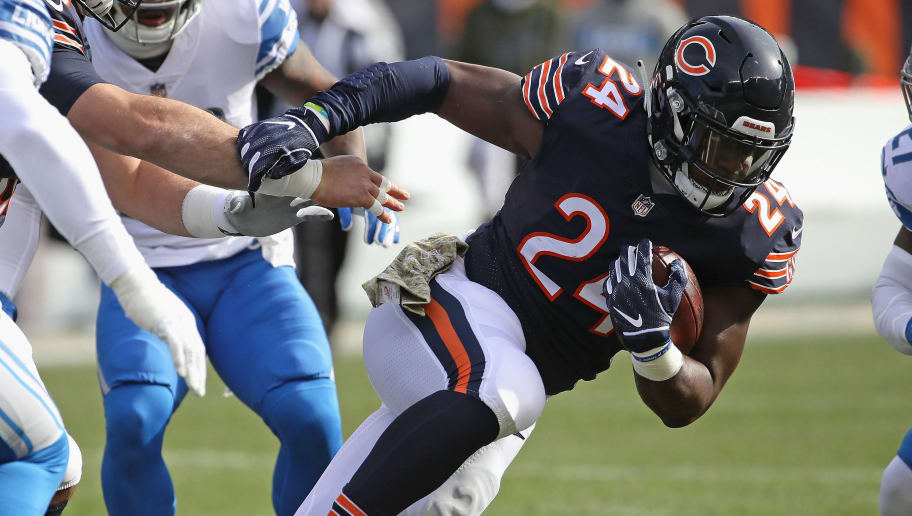 CHICAGO, IL - NOVEMBER 11:   Jordan Howard #24 of the Chicago Bears runs against the Detroit Lions at Soldier Field on November 11, 2018 in Chicago, Illinois. The Bears defeated the Lions 34-22. (Photo by Jonathan Daniel/Getty Images)