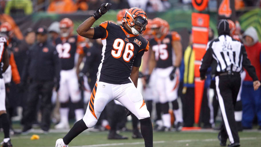 CINCINNATI, OH - DECEMBER 24:  Carlos Dunlap #96 of the Cincinnati Bengals celebrates against the Detroit Lions during the second half at Paul Brown Stadium on December 24, 2017 in Cincinnati, Ohio.  (Photo by Joe Robbins/Getty Images)