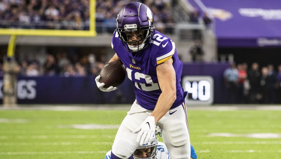 MINNEAPOLIS, MN - NOVEMBER 4: Chad Beebe #12 of the Minnesota Vikings is tackled with the ball in the first quarter of the game against the Detroit Lions at U.S. Bank Stadium on November 4, 2018 in Minneapolis, Minnesota.  (Photo by Stephen Maturen/Getty Images)