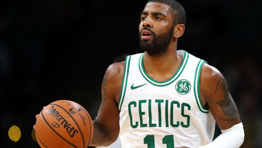 BOSTON, MA - OCTOBER 30: Kyrie Irving #11 of the Boston Celtics dribbles against the Detroit Pistons at TD Garden on October 30, 2018 in Boston, Massachusetts. The Celtics defeat the Pistons 108-105. (Photo by Maddie Meyer/Getty Images)
