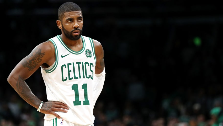 BOSTON, MA - OCTOBER 30: Kyrie Irving #11 of the Boston Celtics looks on during the game against the Detroit Pistons at TD Garden on October 30, 2018 in Boston, Massachusetts. The Celtics defeat the Pistons 108-105. (Photo by Maddie Meyer/Getty Images)