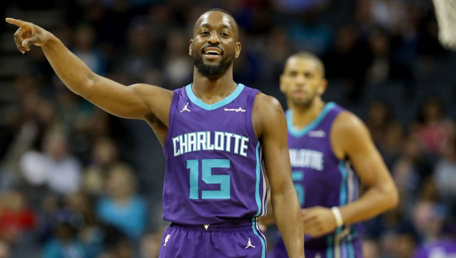 CHARLOTTE, NC - FEBRUARY 25:  Kemba Walker #15 of the Charlotte Hornets reacts after a play against the Detroit Pistons during their game at Spectrum Center on February 25, 2018 in Charlotte, North Carolina.  NOTE TO USER: User expressly acknowledges and agrees that, by downloading and or using this photograph, User is consenting to the terms and conditions of the Getty Images License Agreement.  (Photo by Streeter Lecka/Getty Images)