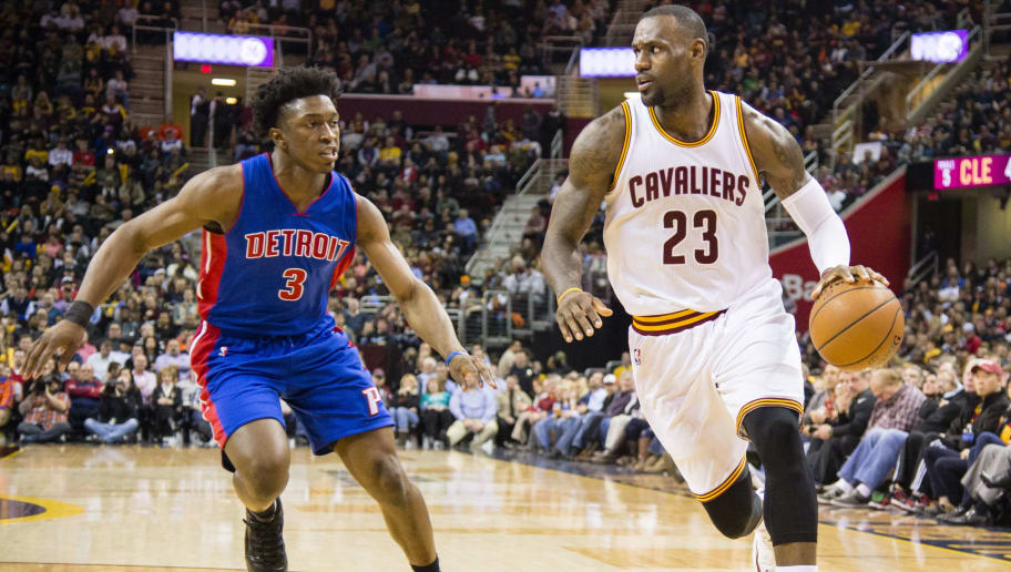 CLEVELAND, OH - FEBRUARY 22: Stanley Johnson #3 of the Detroit Pistons puts pressure on LeBron James #23 of the Cleveland Cavaliers during the first half at Quicken Loans Arena on February 22, 2016 in Cleveland, Ohio. NOTE TO USER: User expressly acknowledges and agrees that, by downloading and/or using this photograph, user is consenting to the terms and conditions of the Getty Images License Agreement. Mandatory copyright notice. (Photo by Jason Miller/Getty Images)