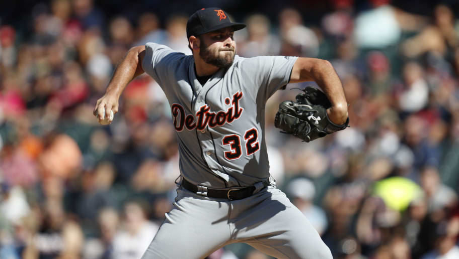 CLEVELAND, OH - SEPTEMBER 15: Michael Fulmer #32 of the Detroit Tigers pitches against the Cleveland Indians during the first inning at Progressive Field on September 15, 2018 in Cleveland, Ohio. The Indians defeated the Tigers 15-0.  (Photo by David Maxwell/Getty Images)