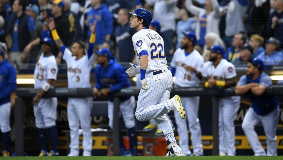 MILWAUKEE, WI - SEPTEMBER 28:  Christian Yelich #22 of the Milwaukee Brewers runs the bases following a home run against the Detroit Tigers at Miller Park on September 28, 2018 in Milwaukee, Wisconsin.  The Brewers defeated the Tigers 6-5.  (Photo by Stacy Revere/Getty Images)